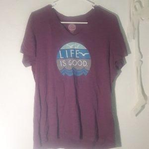 Life is good purple tee shirt large birds waves